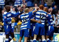 Photo. Glyn Thomas. 08/02/2005.<br /> Reading v Coventry City.<br /> Coca Cola Championship<br /> Reading players pile in to congratulate Les Ferdinand on giving his team a 1-0 lead.