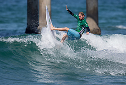 July 31, 2018 - Huntington Beach, California, United States - Huntington Beach, CA - Tuesday July 31, 2018: Beyrick De Vries in action during a World Surf League (WSL) Qualifying Series (QS) Men's round of 96 heat at the 2018 Vans U.S. Open of Surfing on South side of the Huntington Beach pier. (Credit Image: © Michael Janosz/ISIPhotos via ZUMA Wire)