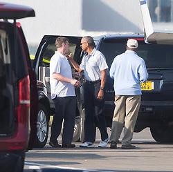 Former US president Barack Obama arriving at Edinburgh airport.