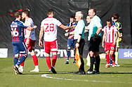 Stevenage FC Joe Martin of Stevenage shaking hands after the final whistle  during the EFL Sky Bet League 2 match between Stevenage and Bradford City at the Lamex Stadium, Stevenage, England on 5 April 2021.