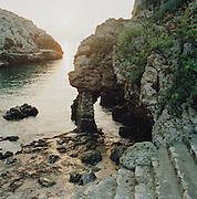 Rock formations at a beach at Andrano, Puglia, Italy