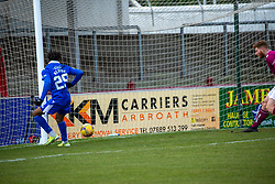 06MAR21 Queen of the South's Adedapo Awokoya-Mebude scoring their third goal. half time : Arbroath 2 v 3 Queen of the South, Scottish Championship played 6/3/2021 at Arbroath's home ground, Gayfield Park.