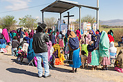 Indigenous pilgrims listen to an outdoor mass on the pilgrimage route to the Sanctuary of Atotonilco an important Catholic shrine in Atotonilco, Mexico.