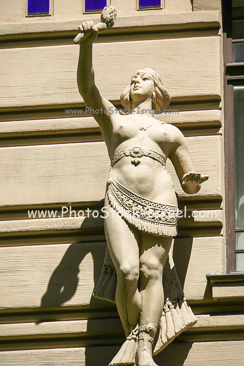 Statue in front of a building in Riga, Latvia
