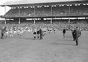 Players line up before the All Ireland Senior Gaelic Football Final Kerry v Down in Croke Park on the 22nd September 1968. Down 2-12 Kerry 1-13.