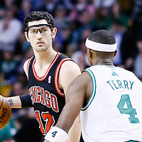 18 January 2013: Chicago Bulls shooting guard Kirk Hinrich (12) looks to pass the ball during the Chicago Bulls 100-99 overtime victory over the Boston Celtics at the TD Garden, Boston, Massachusetts, USA.