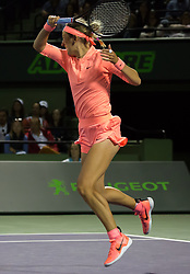 March 22, 2018 - Miami, Florida, United States - Victoria Azarenka, from Belarus, in action against Madison Keys from the US. Azarenka advances to the third round of the Miami Open after Keys retired due to injury during his first round macth at the Miami Open  on March 23, 2018 in Key Biscayne, Florida. (Credit Image: © Manuel Mazzanti/NurPhoto via ZUMA Press)