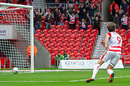 Doncaster Rovers forward John Marquis scores his second goal of the match 2-0 during the EFL Sky Bet League 1 match between Doncaster Rovers and Bradford City at the Keepmoat Stadium, Doncaster, England on 22 September 2018.