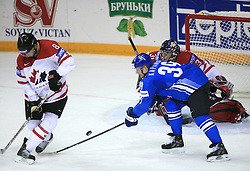 Brent Burns of Canada and Niko Kapanen of Finland at ice-hockey game Canada vs Finland at Qualifying round Group F of IIHF WC 2008 in Halifax, on May 12, 2008 in Metro Center, Halifax, Nova Scotia, Canada. Canada won. (Photo by Vid Ponikvar / Sportal Images)