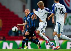 Football: Champions League Qualification.Niki Zimling,, Club Brugge - Andreas Cornelius, FC Kopenhagen.© pixathlon
