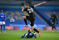 Brighton and Hove Albion's Yves Bissouma is fouled by West Ham United's Tomas Soucek during the Premier League match at the American Express Community Stadium, Brighton. Picture date: Saturday May 15, 2021.