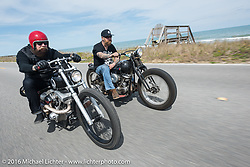 Jim Root (L) from the Band Slipknot and Bill Dodge ride two of Bill's Bling's Cycles' customs south along the coast on Highway A1A during the Daytona Bike Week 75th Anniversary event. FL, USA. Thursday March 3, 2016.  Photography ©2016 Michael Lichter.