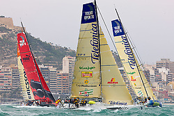 © Sander van der Borch.Alicante, 11 October 2008. Start of the Volvo Ocean Race. Telefonica blue just crosses Telefonica black at the start of the first leg from Alicante  to Capetown..
