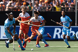 (L-R) Sardar Singh of India, Thierry Brinkman of The Netherlands during the Champions Trophy match between the Netherlands and India on the fields of BH&BC Breda on June 30, 2018 in Breda, the Netherlands