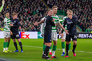 Kristoffer Ajer of Celtic FC hold off Jens Stage of FC Copenhagen at the 1st corner of the game during the Europa League match between Celtic and FC Copenhagen at Celtic Park, Glasgow, Scotland on 27 February 2020.