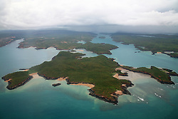 Aerial view of Margaret Island in the Buccaneer Archipelago on the Kimberley coast.