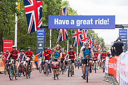 London, UK. 3 August, 2019. More than 70,000 riders of all ages and abilities ride bicycles of all shapes and sizes on seven miles of traffic-free roads around central London for the Prudential RideLondon FreeCycle event. This free carnival of cycling, now in its 7th year, as part of Prudential RideLondon is managed by the Mayor of London's office with the aim of inspiring more people to cycle more often.