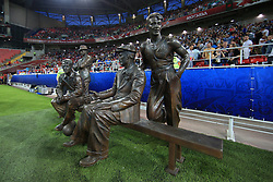 18th June 2017 - FIFA Confederations Cup (Group B) - Cameroon v Chile - A bronze statue of Spartak Moscow's founder Nikolai Starostin and his brothers, Aleksandr, Andrei and Pyotr stands by the pitch - Photo: Simon Stacpoole / Offside.