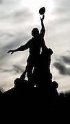 Twickenham, United Kingdom.    The Rugby Players Statue outside the Twickenham Ground, wth  Supporters, gathered round. RBS. Six Nations : England vs France. at the  RFU Stadium, Twickenham, England, <br /> <br /> Saturday  04/02/2017<br /> <br /> [Mandatory Credit; Peter Spurrier/Intersport-images]