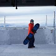 Rob Kingwill snowboarding at Jackson Hole Mountain Resort.