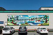 A mural on the side of a building in Petersburg, Mitkof Island, Alaska. Petersburg settled by Norwegian immigrant Peter Buschmann is known as Little Norway due to the high percentage of people of Scandinavian origin.
