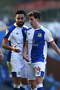 Blackburn Rovers defender Derrick Williams (3) and scores a goal 2-4 discuss tactics during the EFL Sky Bet Championship match between Blackburn Rovers and Wycombe Wanderers at Ewood Park, Blackburn, England on 19 September 2020.