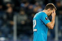 November 23, 2017 - Saint Petersburg, Russia - Artem Dzyuba of FC Zenit Saint Petersburg reacts after missing a penalty shot during the UEFA Europa League Group L match between FC Zenit St. Petersburg and FK Vardar at Saint Petersburg Stadium on November 23, 2017 in Saint Petersburg, Russia. (Credit Image: © Mike Kireev/NurPhoto via ZUMA Press)