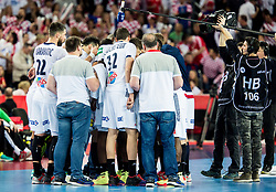 Team France during handball match between National teams of Croatia and France on Day 7 in Main Round of Men's EHF EURO 2018, on January 24, 2018 in Arena Zagreb, Zagreb, Croatia.  Photo by Vid Ponikvar / Sportida