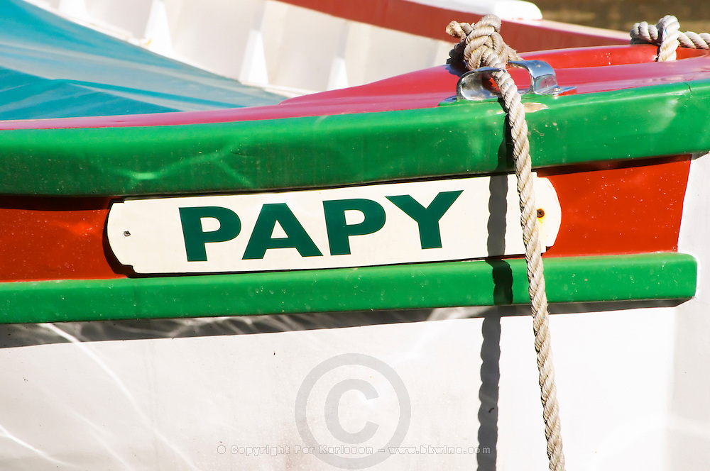 A boat painted in white red and green with the text Papy (grand-dad) Sanary Var Cote d'Azur France