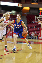 25 November 2007: Allie Quigley races past the foul line and Maggie Krick. The DePaul Blue Demons defeated the Illinois State Redbirds 80-75 on Doug Collins Court at Redbird Arena in Normal Illinois