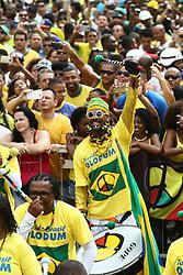 June 22, 2018 - Salvador, Brazil - SALVADOR, BA - 22.06.2018: TORCIDA DO BRASIL EM SALVADOR - Olodum's perconsionist twirls in Pelourinho, in Salvador, Bahia, during a gamtween Brazil and Costa Rica, valid for the 2he 2018 World Cup in Russia. (Credit Image: © Mauro Akin Nassor/Fotoarena via ZUMA Press)