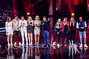 Tweede liveshow van het tiende seizoenThe voice of Holland .<br /> <br /> Op de foto: Deelnemers die door zijn