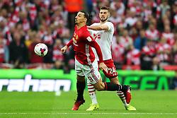 Jack Stephens of Southampton challenges Zlatan Ibrahimovic of Manchester United - Mandatory by-line: Matt McNulty/JMP - 26/02/2017 - FOOTBALL - Wembley Stadium - London, England - Manchester United v Southampton - EFL Cup Final