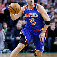 24 January 2013: New York Knicks point guard Jason Kidd (5) brings the ball upcourt during the New York Knicks 89-86 victory over the  at the TD Garden, Boston, Massachusetts, USA.