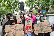 People take part in a peaceful protest in Parliament Square, in Central London on Sunday, Aug 16, 2020 - in response to the downgrading of A-level results. Thousands of pupils across England have expressed their disappointment at having their results downgraded after exams were cancelled due to coronavirus. A-levels results that were announced on 13 August. Some 40 per cent of students across England have received downgraded results. (VXP Photo/ Vudi Xhymshiti)