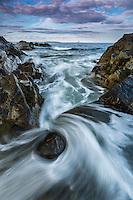 Long exposre of waves along the rocky coast of Maine, Portland Head
