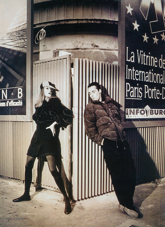 Daniel Hechter Paris circa 1990 Fall Winter Advertising Campaign. <br /> Supermodels Susan Holmes and Antonis Fragakis. Photographer © Amyn Nasser. All Rights Reserved. Photographed in Paris, France.<br /> <br /> Gear and Technical Details: Shot on Nikon F2A, Nikon F4, 35mm F1.4, 50mm F1.4, 85mm F1.4, 200 mm F2.0 ED-IF. Flash: Profoto 2400 Watt-seconds Studio Strobes with Photek GoodLiter II Half Silver Umbrellas. Film: 35mm Black & White Kodak Tri-X Push Process ISO 1000 Processed at 1200 -1400 ISO Hand Printed by IMAGENOIR Paris on ILFORD Bromide Grade 3. Hand Copper Toned, Air Dry, Heat Pressed. RePurposed 35mm Transparency Film Artwork Third Generation for the Campaign. Transparency Film  processed by PICTO Lab Paris. Location Van and Strobes provided by Pin-Up Studios Paris, France.