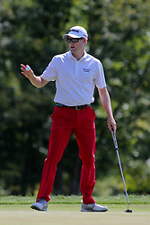 September 2, 2018 - Norton, Massachusetts, United States - Russell Knox waves to the crowd after putting the 8th green during the third round of the Dell Technologies Championship. (Credit Image: © Debby Wong/ZUMA Wire)