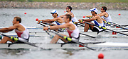 Shunyi, CHINA.  GBRLM2X, Bow, Zac PURCHASE and mark HUNTER winning the gold medal at the 2008 Olympic Regatta, Shunyi Rowing Course.  Sun 17.08.2008.  [Mandatory Credit: Peter SPURRIER, Intersport Images