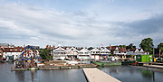 Henley on Thames, United Kingdom. 2016 Henley Masters' Regatta. Henley Reach. England. on Saturday  09/07/2016   [Mandatory Credit/ Peter SPURRIER/Intersport Images]<br /> <br /> Course building equipment, moored by the boat tent. Rowing, Henley Reach, Henley Masters' Regatta.