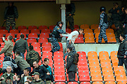 Moscow, Russia, 16/05/2008..Russian OMON special forces riot police practice inside Luzhniki stadium, location for the forthcoming European Champion's Cup final between Manchester United and Chelsea. The role of rioting fans was played by fellow police as Moscow authorities prepare to deal with some 50,000 visiting English football fans.