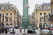 Traffic around Place Vendome and La Colonne Vendome, Paris, France