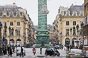 Traffic around Place Vendome and La Colonne Vendome, Paris, France