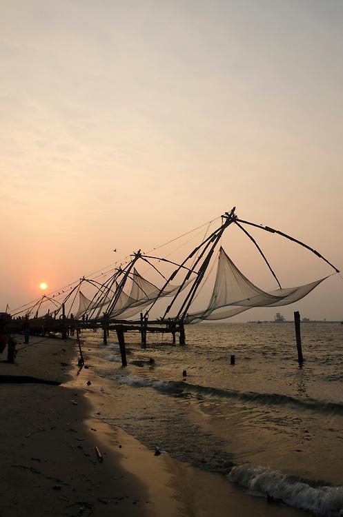 Chinese fishing nets at dusk, Fort Cochin, Kerala, South India