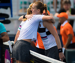 March 23, 2019 - Miami, FLORIDA, USA - Donna Vekic of Croatia & Petra Kvitova of the Czech Republic at the net after their third-round match at the 2019 Miami Open WTA Premier Mandatory tennis tournament (Credit Image: © AFP7 via ZUMA Wire)