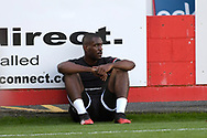 Crawley Town defender Manny Adebowale (17) during the EFL Sky Bet League 2 match between Cheltenham Town and Crawley Town at Jonny Rocks Stadium, Cheltenham, England on 10 October 2020.