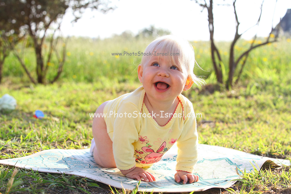 smiling baby outdoor Model Release Available