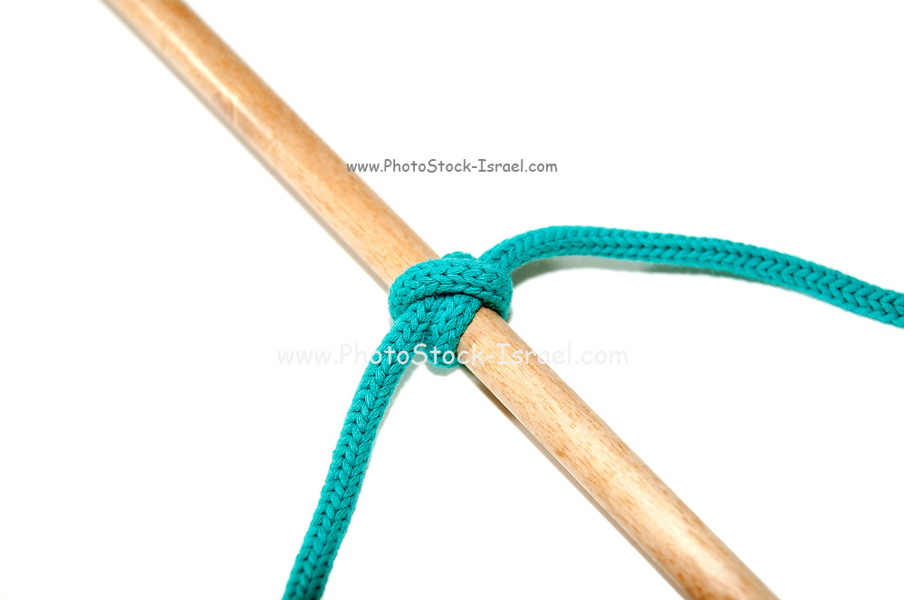 Clove hitch knot on white background