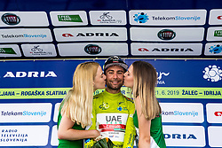 Diego Ulissi (ITA) of UAE Team Emirates celebrates in green jersey at trophy ceremony after 3rd Stage of 26th Tour of Slovenia 2019 cycling race between Zalec and Idrija (169,8 km), on June 21, 2019 in Slovenia. Photo by Matic Klansek Velej / Sportida