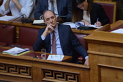April 25, 2018 - Athens, Attiki, Greece - Minister of Environment and Energy Giorgos Stathakis, during the session of Hellenic parliament. (Credit Image: © Dimitrios Karvountzis/Pacific Press via ZUMA Wire)